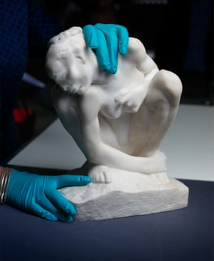 One of the works is a crouching woman cast in marble by Rodin, circa 1882.