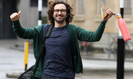 Joe Wicks leaving BBC Broadcasting House after completing his 24-hour workout for Children in Need.