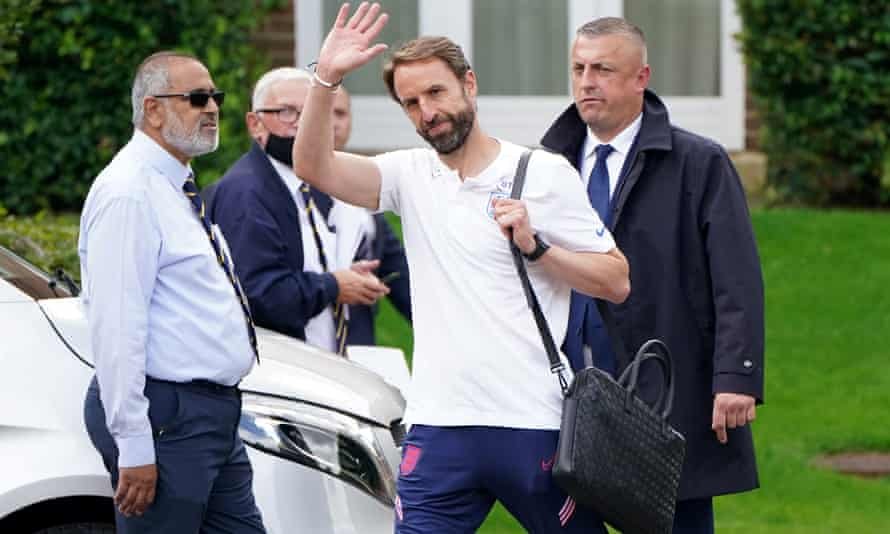 Gareth Southgate leaves the Grove Hotel on Monday.