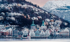 View of the harbor in winter in Bergen, Norway