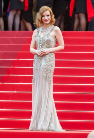 Jessica Chastain in embroidered Alexander McQueen