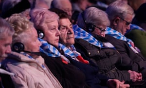 Survivors attend the official memorial ceremony at Auschwitz on January 27.