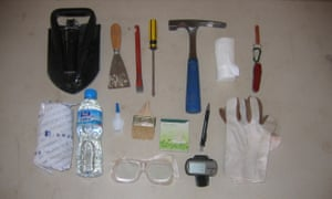 Prospecting kit for a palaeontologist. Apart from the GPS it is all extremely low tech.