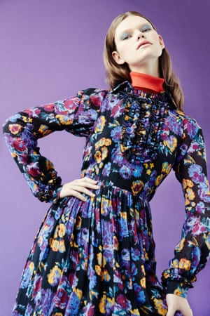 Matching purple floral jacket, £330, and dress, £540, both karenwalker.com