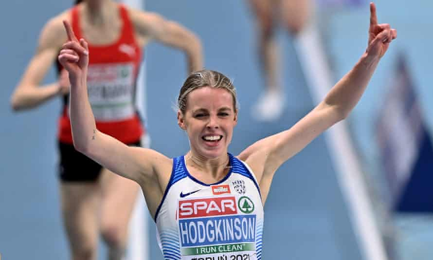 Keely Hodgkinson celebrates winning gold in the women's 800m at the European Indoor Athletics Championships