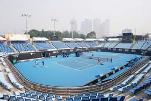 The city skyline shrouded by smoke haze from bushfires during an Australian Open practice session on Tuesday.