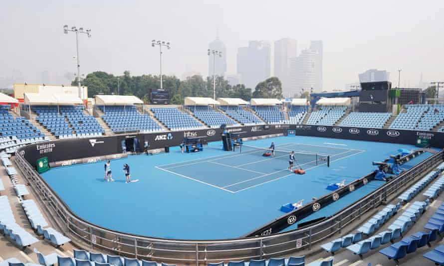 Smoke haze above Melbourne Park during an Australian Open practice session.