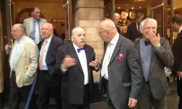 Garrick club members leave after voting. The Garrick is one of a handful of gentlemen's clubs in London that still refuses to allow women members.