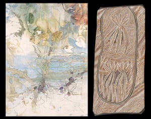 Bulwutja, a detail from 'Distant glimpses of the great floodplain seen through a veil of trees and hanging vines' 2017 by John Wolseley. Bulwutja, 2012, Dhuwa molety by Mulkun Wirrpanda, Dhugi-Djapu clan, earth pigments on stringybark.