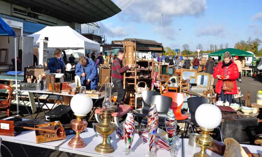 Sunbury antiques market, Kempton park racecourse, in Surrey.