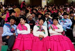 La Paz, BoliviaBolivian farmers attend a celebration of World Water Day.