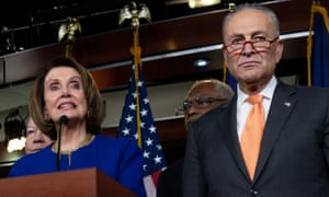 Nancy Pelosi and Chuck Schumer hold a press conference following a meeting with Donald Trump.