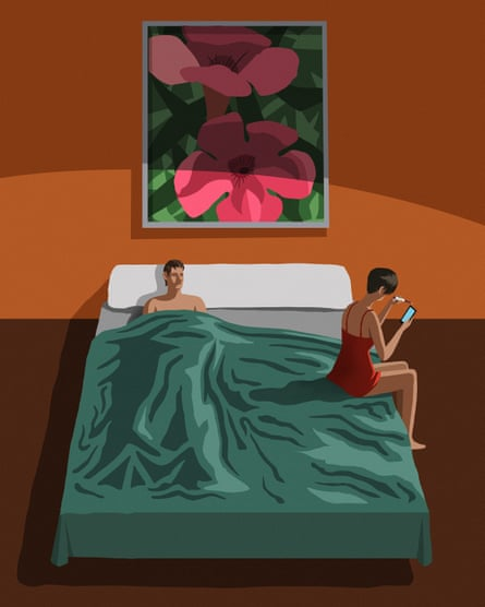 Illustration of couple on bed with woman checking phone