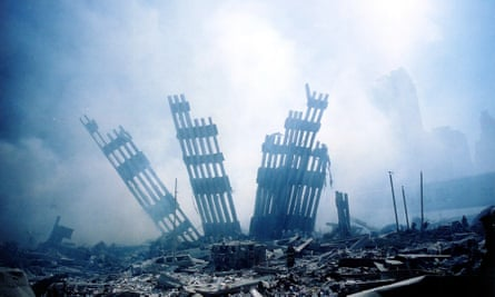 The rubble of the World Trade Center smoulders following the terrorist attack in 2001.