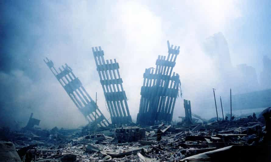 Remains of the World Trade Center after the 9/11 attack
