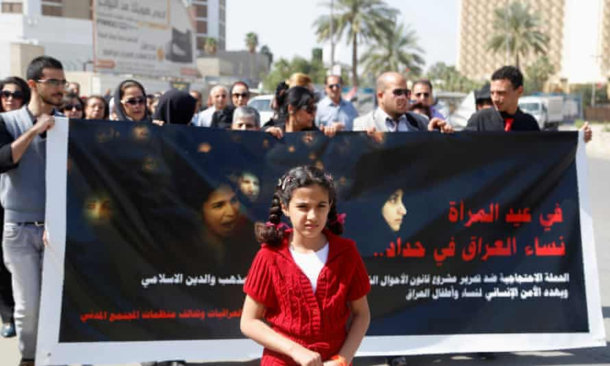 A protest against the draft of the personal status law in Baghdad, March 2014. The sign reads, 'Women are not for sale or purchase'