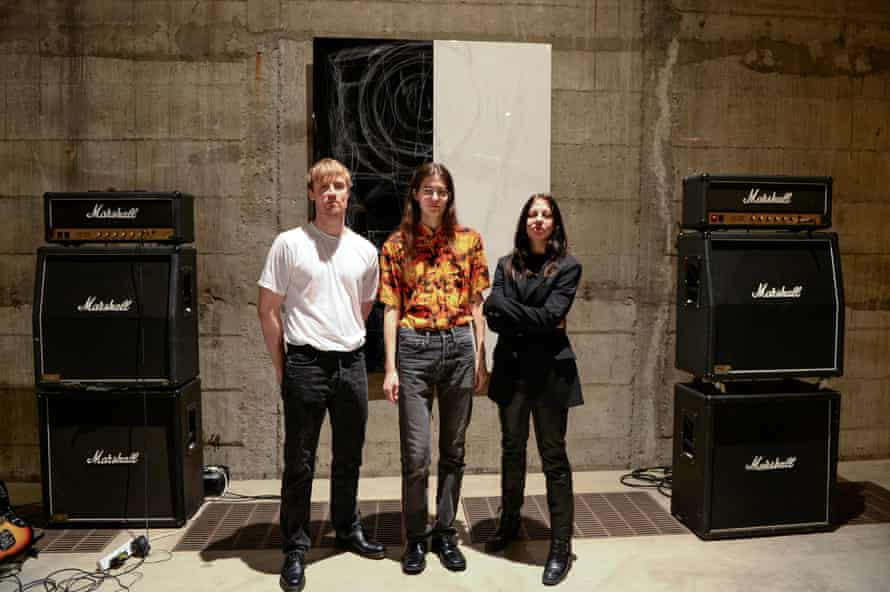 Amped up: Billy Bultheel, Eliza Douglas and Anne Imhof in the Tate's tank space.