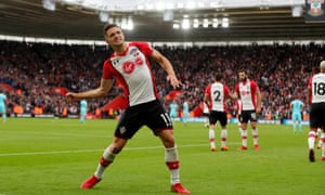 Dusan Tadic celebrates after scoring for Southampton against Bournemouth in April 2018.