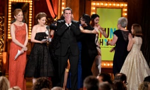 The cast and creative team of Fun Home accepting the award for best musical at the 2015 Tony awards.