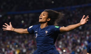 France's Wendie Renard celebrates after scoring a controversial penalty.