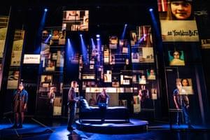 Dear Evan Hansen is now playing at the Noël Coward Theatre centre l-r Sam Tutty (Evan Hansen), Lucy Anderson (Zoe Murphy) photo by Matthew Murphy