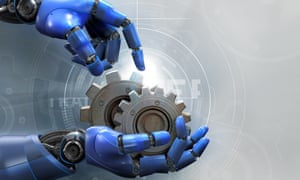 Robotic arms holding metal cogs over diagram
