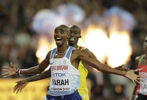 Britain's Mo Farah celebrates after winning the men's 10,000m final at the World Athletics Championships in London.