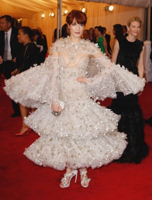 Florence Welch opted for a tiered Alexander McQueen creation in 2012, which saw the opening of the Schiaparelli and Prada: Impossible Conversations exhibition.