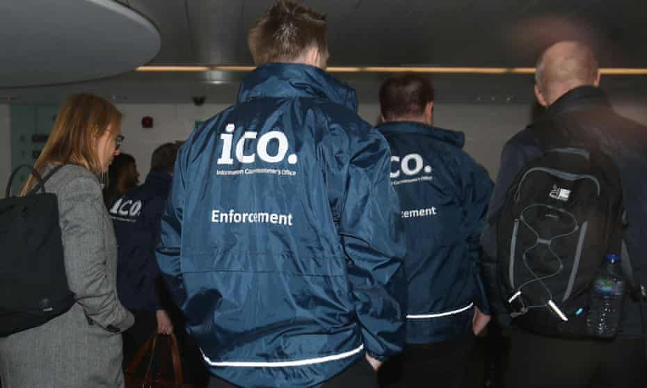 Information Commissioner's Office investigators entering Cambridge Analytica office in London