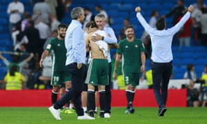 Quique Setién and his Real Betis players celebrate last year's dramatic victory over Real Madrid.