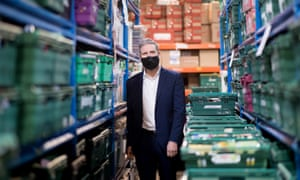 Keir Starmer at a food bank distribution centre in Streatham, London, January 2021