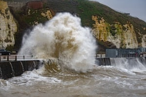 Huge waves hit the sea defences at Newhaven harbour in East Sussex