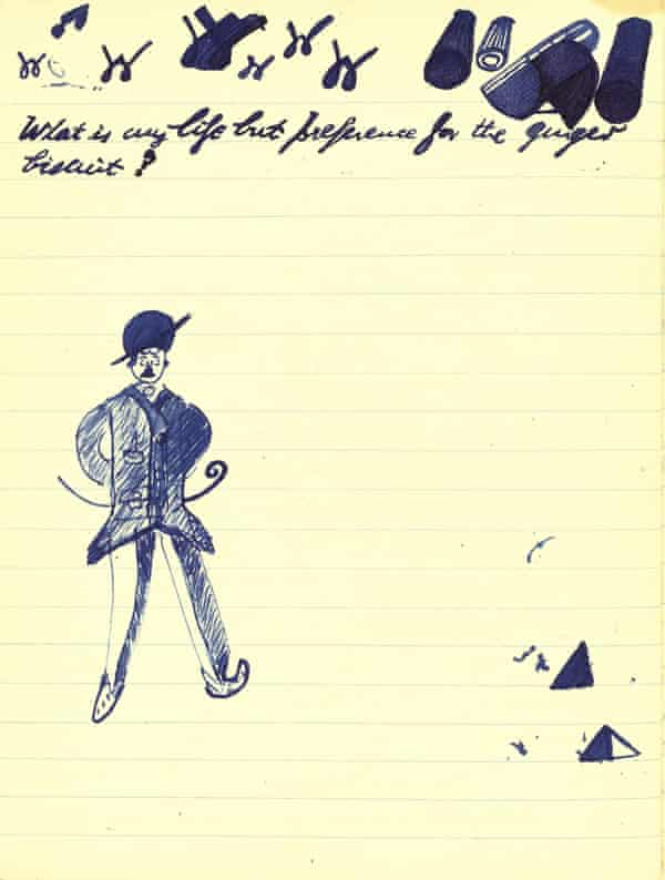 A page from Beckett's notebooks. The text reads: 'What is my life but preference for the ginger biscuit?'