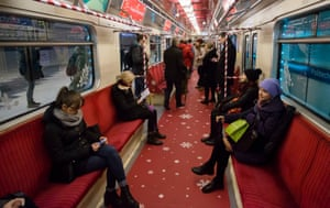 Warsaw metro train decorated for Christmas