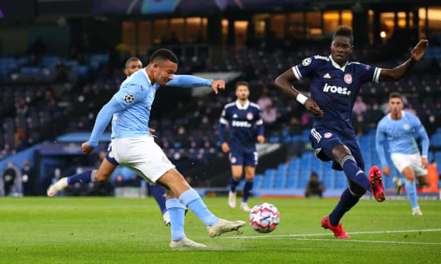 Gabriel Jesus scores for Manchester City against Olympiakos