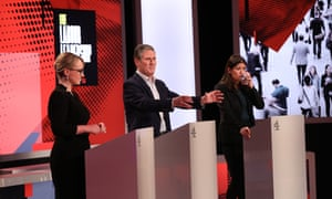 Rebecca Long-Bailey, Keir Starmer and Lisa Nandy in Channel 4's Labour leadership debate, February 2020