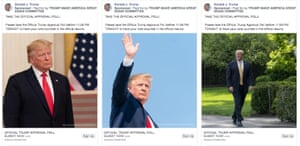 Examples of the most popular Facebook ad format for Trump's 2020 campaign