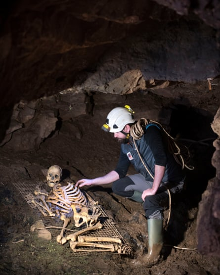 Paul Ballantyne with a replica of the prehistoric Briton in Gough's Cave, Cheddar Gorge.