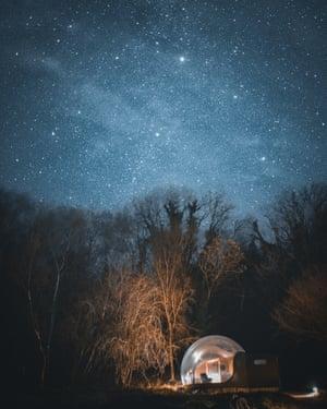bespoke Stargazing Forest Dome at Finn Lough Resort, Enniskillen, Northern Ireland,