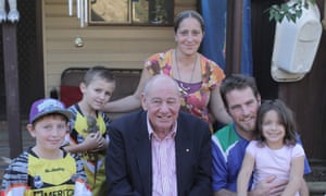 Simone and Marc Miller with three of their children, and Glenn Sargeant