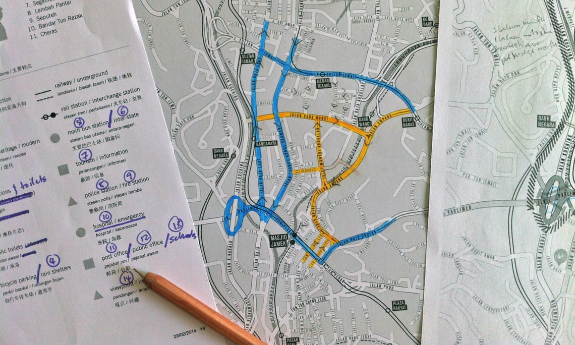 """Cycling not for leisure, but for transportation, for utility"" ... the workings of Jeffrey Lim's cycle map of Kuala Lumpur."