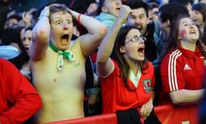 Wales fans celebrate in Cardiff