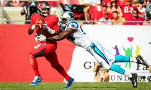 Carolina Panthers defensive end Efe Obada sacks the Tampa Bay quarterback Jameis Winston in December last year