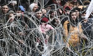 Refugees on the Turkish-Greek border at Pazarkule, near Kastanies, on the Turkish side.
