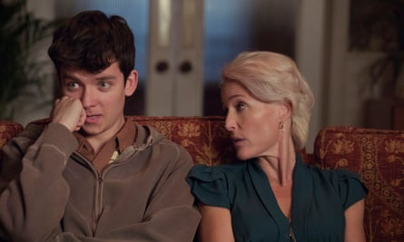Asa Butterfield and Gillian Anderson in Netflix's Sex Education.