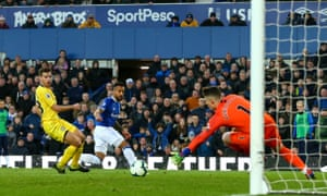 Theo Walcott sees a shot saved by Chelsea's Kepa Arrizabalaga in one of his fleeting appearances as a substitute in March. He has scored three league goals this season.