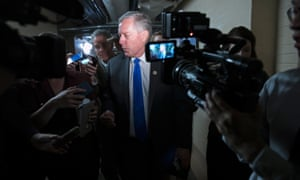 Mark Meadows, chairman of the House Freedom Caucus, answers questions while leaving a meeting of the House Republican caucus at the US Capitol on Wednesday.