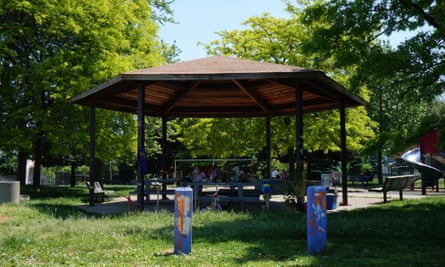 The gazebo at Cudell Recreation Center where Tamir Rice was killed by a police officer in 2014.