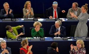 Strasbourg, France. Dutch MEP Judith Sargentini is congratulated