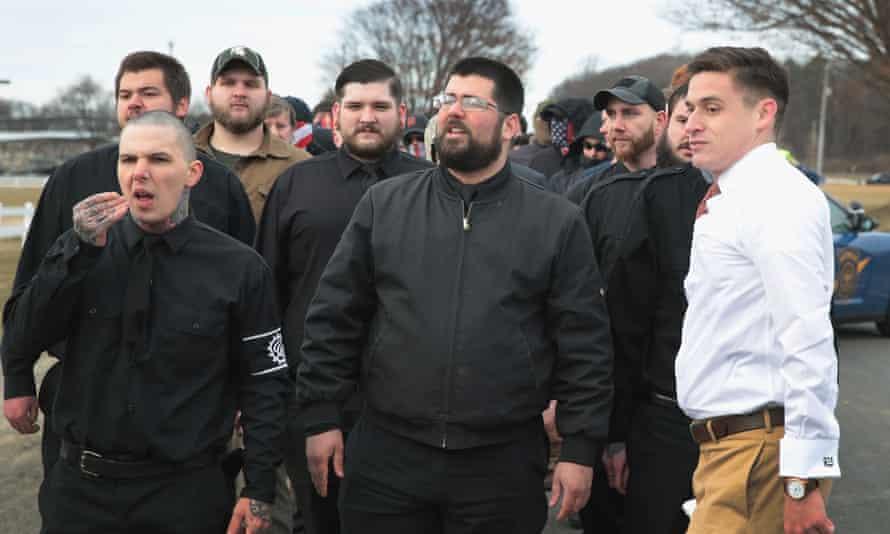 The white nationalist Matthew Heimbach (center) on 5 March attending a speech by Richard Spencer, a fellow 'alt-right' figure.